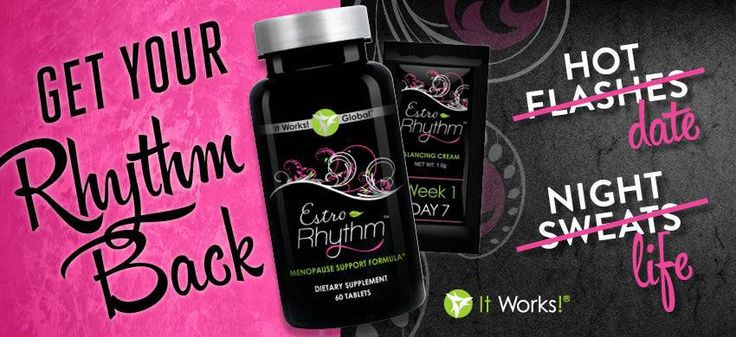 """Want a safe, effective and natural way that helps relieve menopausal symptoms?    Estro-Rhythm™ is the world's first naturally based, single-use daily system for menopausal symptoms. Its superior formulation uses natural ingredients to help you """"get your rhythm back"""" without the worries associated with synthetic solutions.    You can purchase it at https://sassynsweet.myitworks.com/Shop/Product/534  If you have questions contact me today! Candice @ 214-603-9860"""