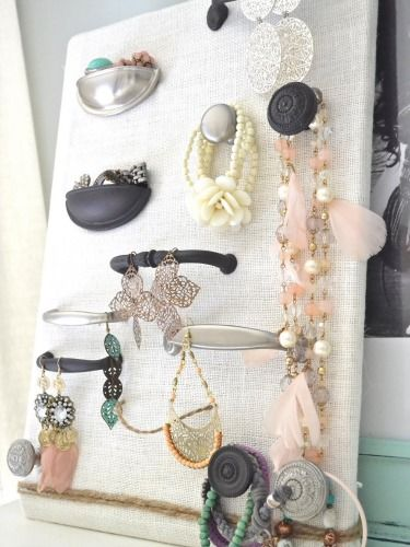 DIY Jewelry Organizers - Organizing and Storage Ideas - Good Housekeeping. This eclectic piece offers plenty of space for all your baubles. Dangly earrings hang off handles, bracelets wrap over knobs, and rings fill cup drawer pulls flipped upside down.