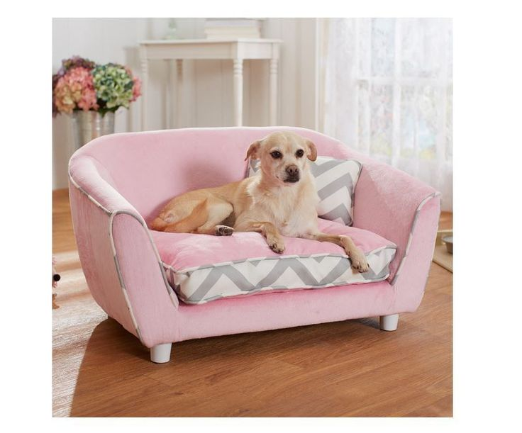 Dog Bed Couch Chevron Pink Pet Sofa Draft Free Sleeping New Home Canine Supplies | eBay