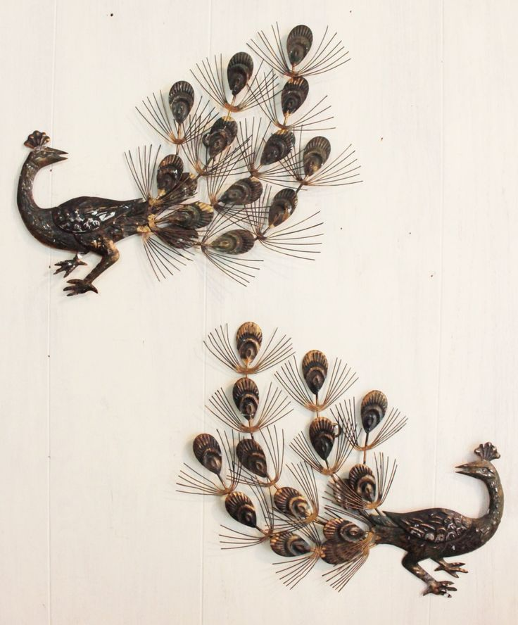 metal peacock wall sculptures - vintage midcentury wall decor - set of 2 by ninedoorsvintage on Etsy