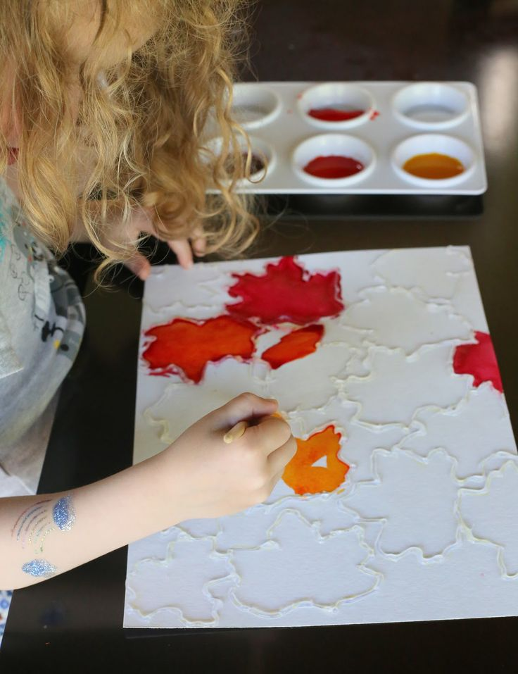Fall Leaf Watercolor Resist Art from Fun at Home with Kids