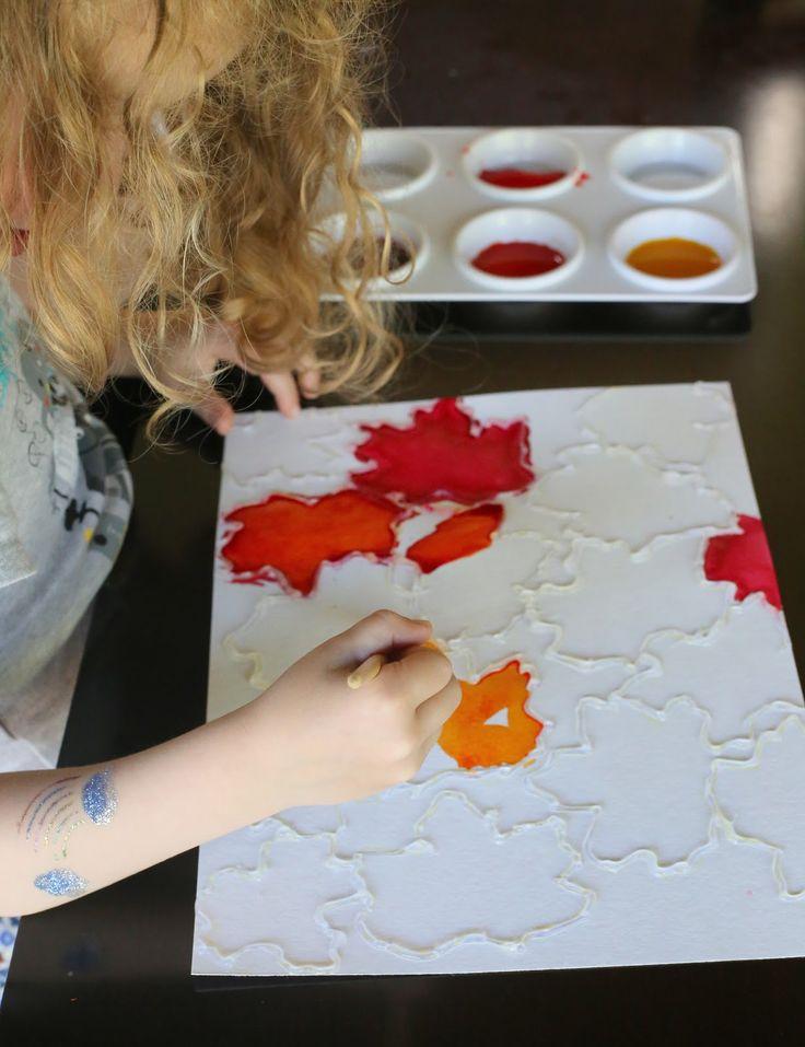 Feuilles automne Aquarelle Resist Art de Fun à la maison avec les enfants