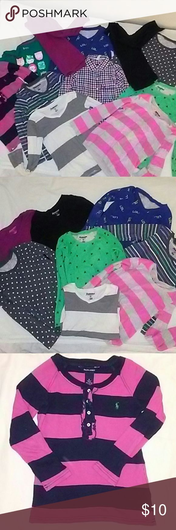 Girls Tops size 6..6x..7 All 11 sold together $10$ 8 Old navy shirts sizes (6-7), 1 Ralph lauren pink and blue strip shirt size (6) and 2 shirts from Target white,blue and pink plaid button down size (7)  and a turquoise tops with 9 different animal faces on it size (6\6x)  No Holes No Rips Smoke free pet free home. Take all for a great price !!!!!! Shirts are all long sleeves!!!!! Shirts & Tops