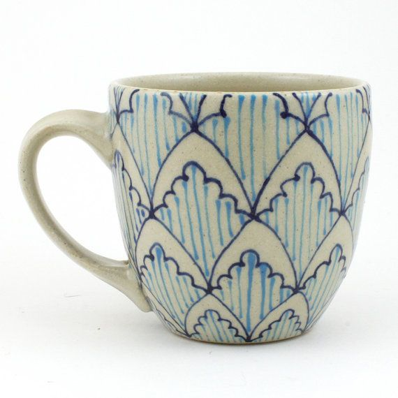 Teacup  Ceramic Mug  Cup with bright blue by dawndishawceramics, $32.00