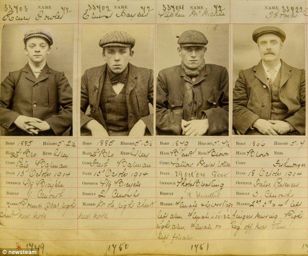 Left to right, Peaky Blinders Harry Fowler, Ernest Bayles, Stephen McHickie and Thomas Gilbert are revealed in archived police photos from 1904