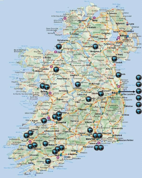 Map of Ireland - RIA Centres Geographical Spread