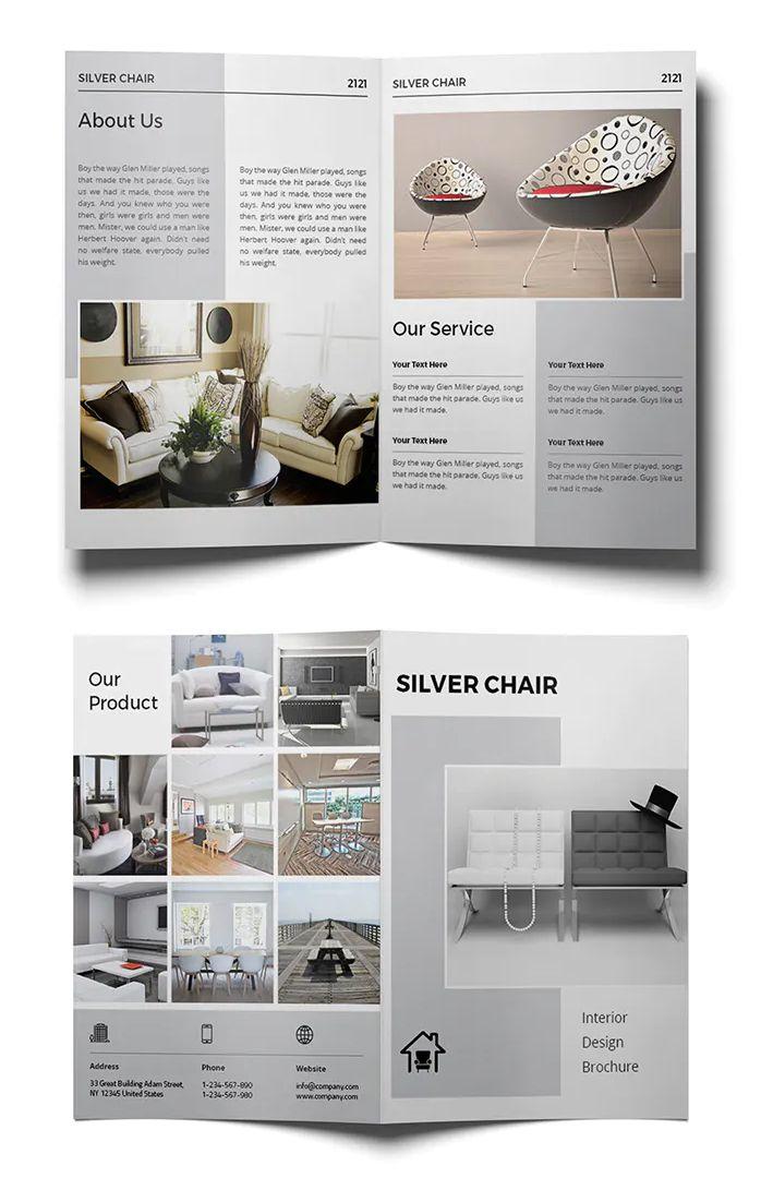 Interior Design Bi Fold Brochure Template Indd Brochure Design Brochure Design Template Booklet Design