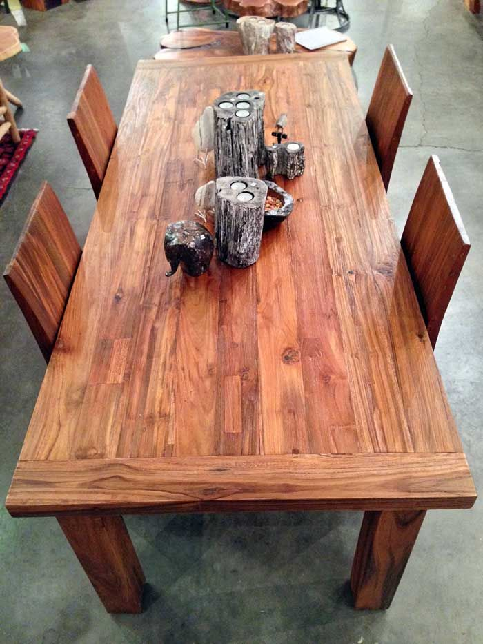 7 foot long x 3 foot wide x thick reclaimed teak dining table with four 4  legs made from salvaged old growth teak wood from railroad ties and trestle  ...