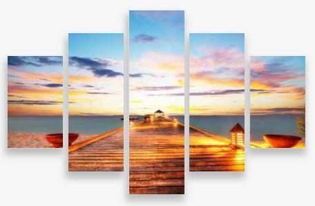 Canvas Wall Art 5 Panel Framed Multi Print- Small Jetty