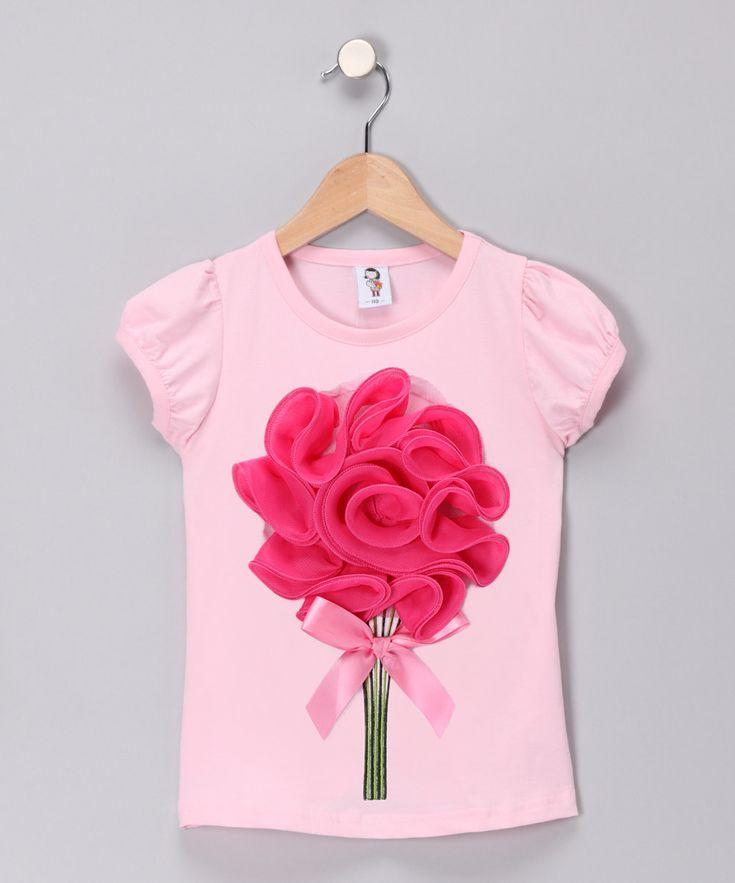 Light Pink & Hot Pink Large Flower Tee - Toddler & Girls