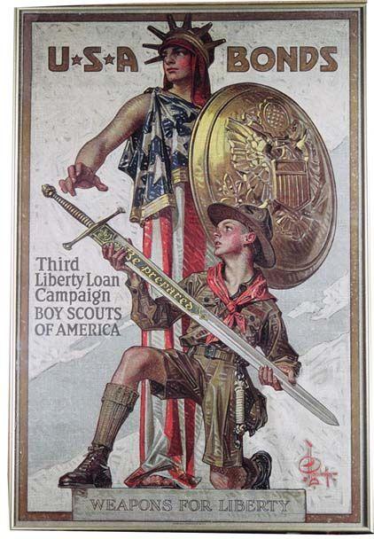 WWI~1918~Artist J. C. Leyendecker~ U S A BONDS  - BOY SCOUTS OF AMERICA