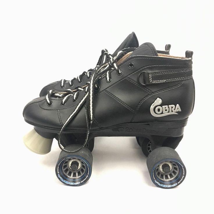 Roller Derby Cobra Mens Size 9 Quad Speed Skates Black Power Formula Wheels  | eBay
