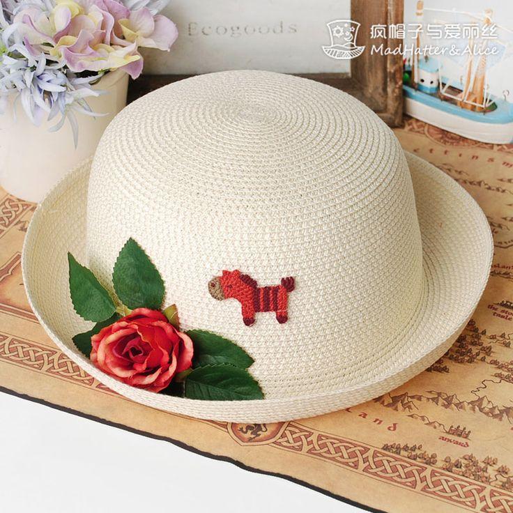【以梦为马-疯帽子与爱丽丝】小马+花朵 清新圆顶卷边帽子 草帽夏-淘宝网