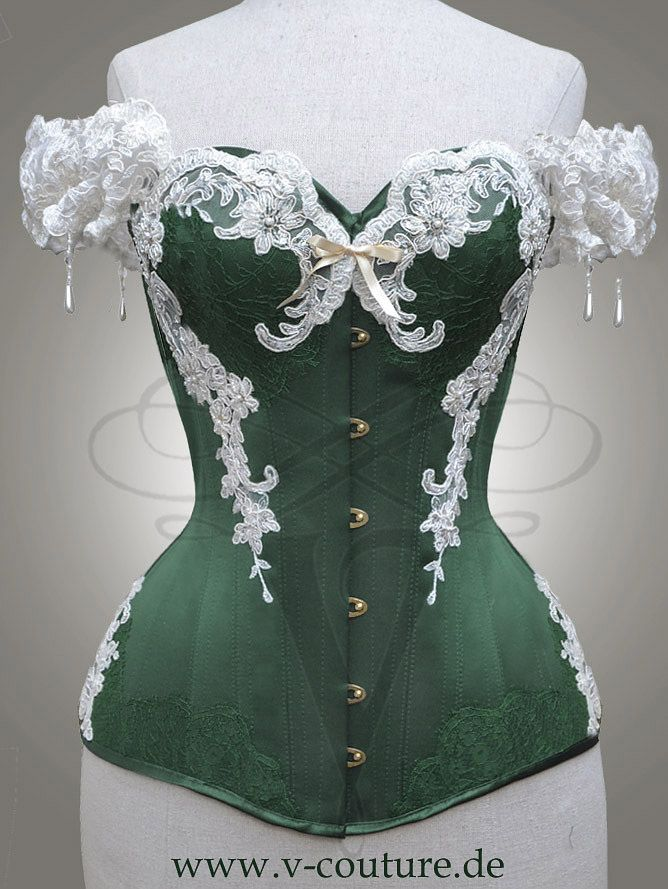 "Green and ivory version of the ""Aphrodite"" overbust corset, made by V-Couture (www.v-couture.de). #corset #korsett #corsetry #overbust #v-couture"
