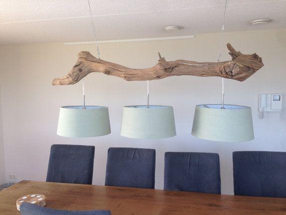 Lámpara de techo con 3 luces fabrica de tronco por GBHnatureart, €785.00