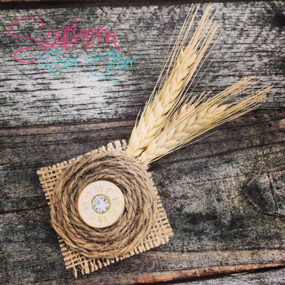 SHOTGUN SHELL BOUTONNIERE with wheat / bullet by SouthernEverAfter, $9.99