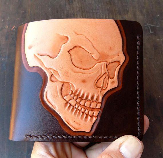 Natural leather wallet for men skull wallet handmade EDC