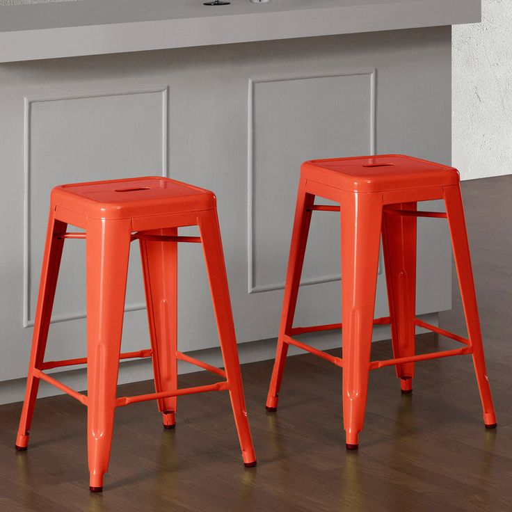 Tabouret inch Tangerine Metal Counter Stools Set of 2 by I Love Living