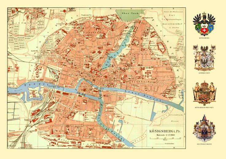 Königsberg Ostpreussen Karte Wappen Preussen Büttenf 20 - Billerantik