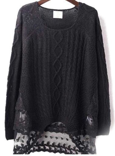 #SALE Black Long Sleeve Contrast Lace Knit Sweater Shop the #SALE at #Sheinside
