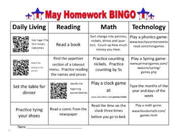 Homework BINGO for Special Education students.