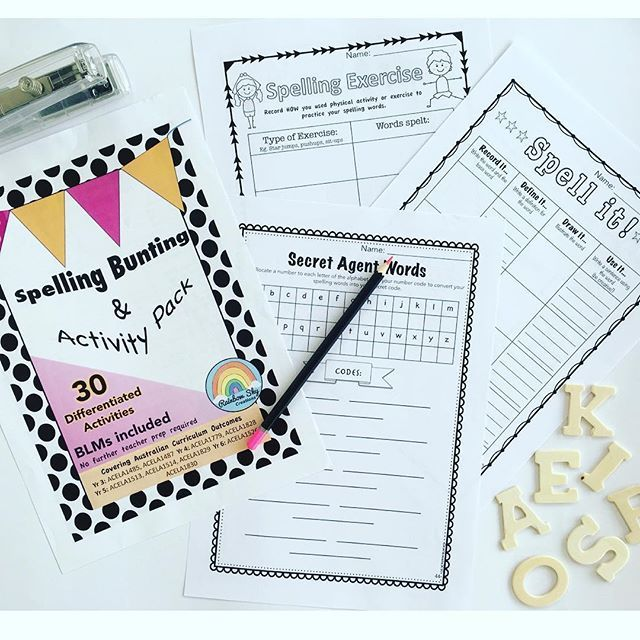 One stop spelling resource. Can be used for any spelling list or multiple lists. perfect for Daily Five 'working with words', literacy rotations, whole class spelling lessons or homework activities. Includes classroom display and worksheets. Years 3 - 6 . ~ Rainbow Sky Creations ~