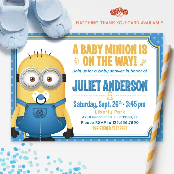 21 best baby shower images on pinterest dr seuss baby shower despicable me minions baby shower invitation printable invitation red head invites filmwisefo Images