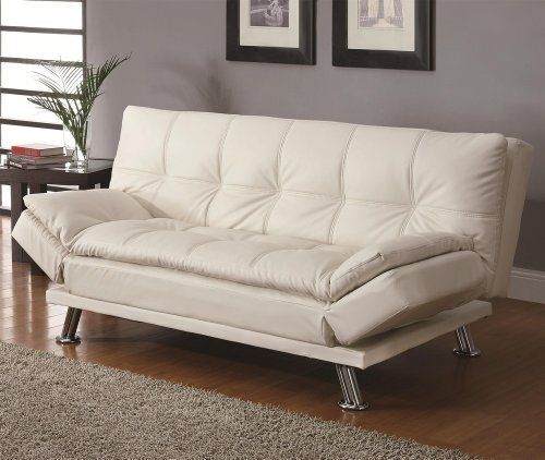 Contemporary White Adjustable Futon Sofa Bed