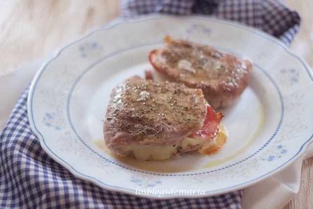 Filetes de pierna de cerdo rellenos de bacon  y mozzarella