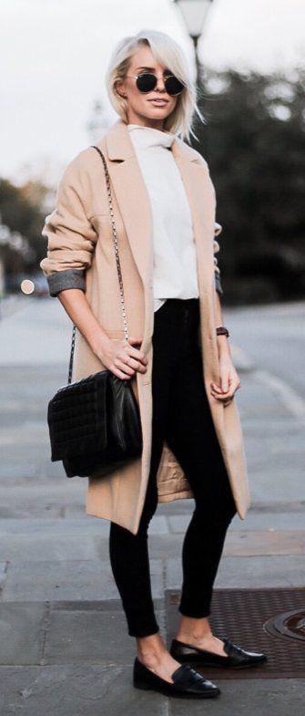 Camel Coat / White Knit / Black Skinny Jeans / Black Leather Loafers / Black Shoulder Bag