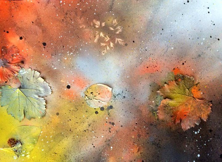Spray Paint & Leaves from the garden... Cosmic Autumn 2014 T. Johnsen