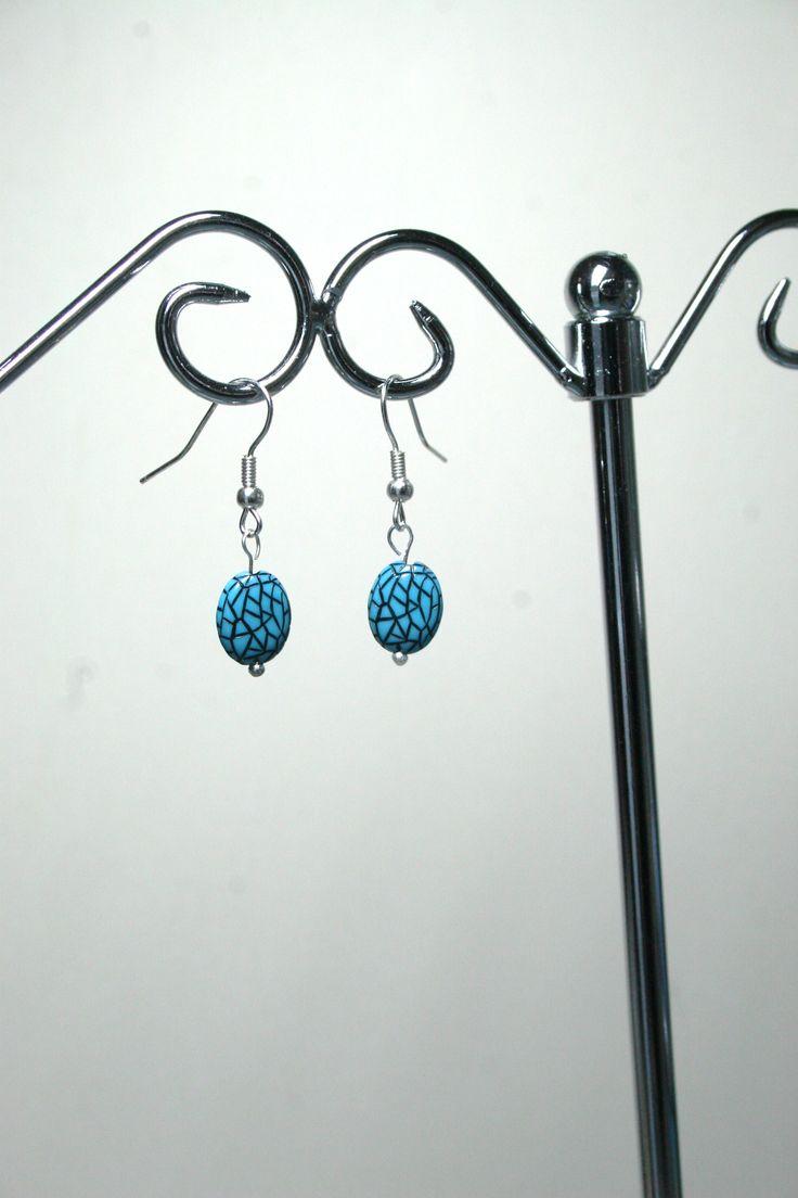 Blue cracked pattern earrings  www.facebook.com/Supposejewellery
