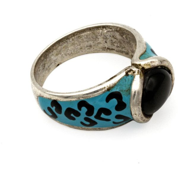 Blue Cheetah Print Ring, Animal Print Ring, David Sigal Enamel ring,... ($45) ❤ liked on Polyvore featuring jewelry, rings, tri color ring, blue ring, blue band ring, fake rings and bohemian rings