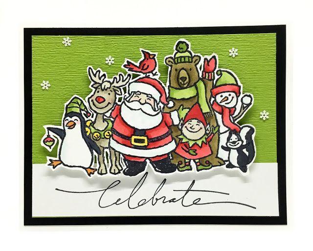 Christmas Crowd Christmas Card Design Homemade Christmas Cards Hand Crafted Cards