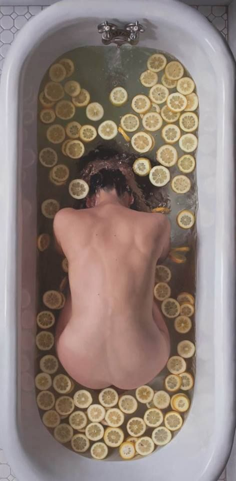 "Lee Price  ""Lemon Slices III"" Oil on Linen, 76x34 inches, 2013"