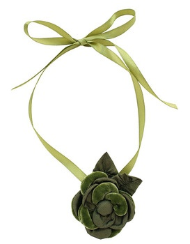 This charming Camellia necklace features the Camellia design which is exquisitely handcrafted and includes an accent of silk taffeta leaves on a silken ribbon.