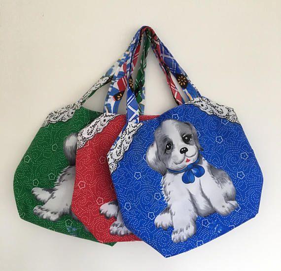 Handmade Fabric Bag. Christmas Gift Bag. Shih Tzu Puppy Gift