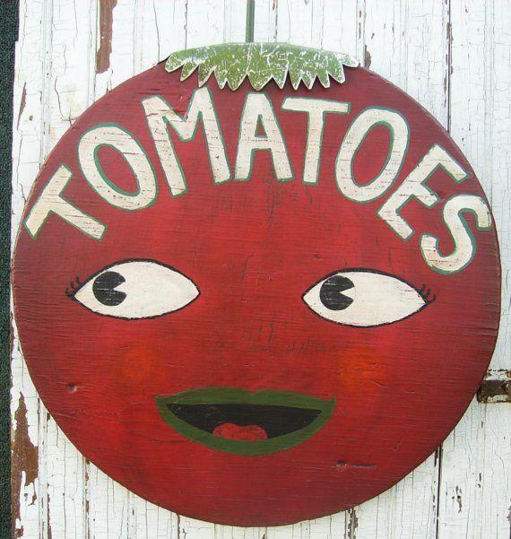 Folk Art Lg Red Smiling Tomato Primitive Wood Farm Stand Sign Jordan Etsy