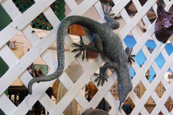 Bronze Lizard Fountain Spout by John Downham - Garden Accents