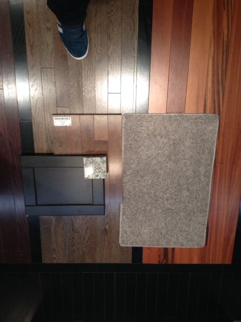 cabinet color (not style) and granite compared with flooring (hardwood and carpet)