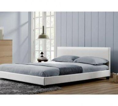 Lit de 2 places CONCEPT USINE Lit Oxford - Cadre de lit en simili cuir Blanc - 140x190cm
