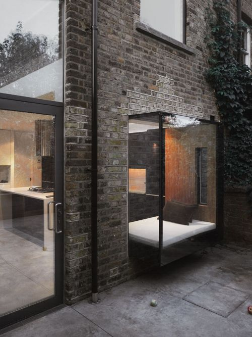 brick facade. window seat nook.