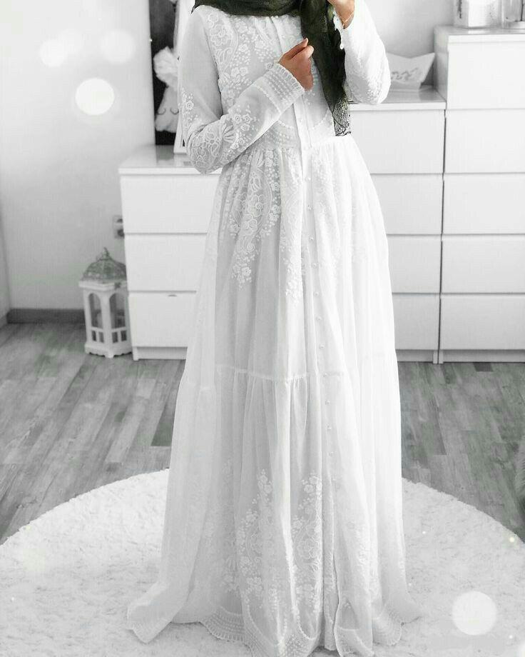 Genc Tesettur Beyaz Elbise Modelleri Musluman Elbisesi Moda Stilleri The Dress