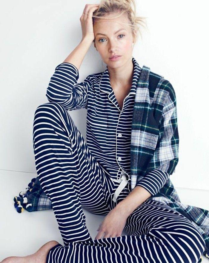pyjamas chauds femme, pyjama femme pas cher pyjama femme bleu