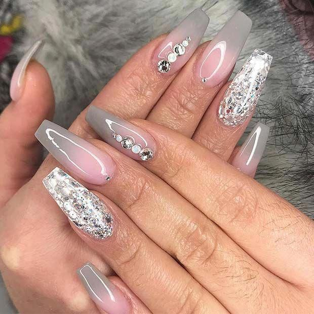 Grey Ombre Nail Design For Coffin Nails Nailscoffin Ombre Nail Designs Classy Nail Designs Classy Nails