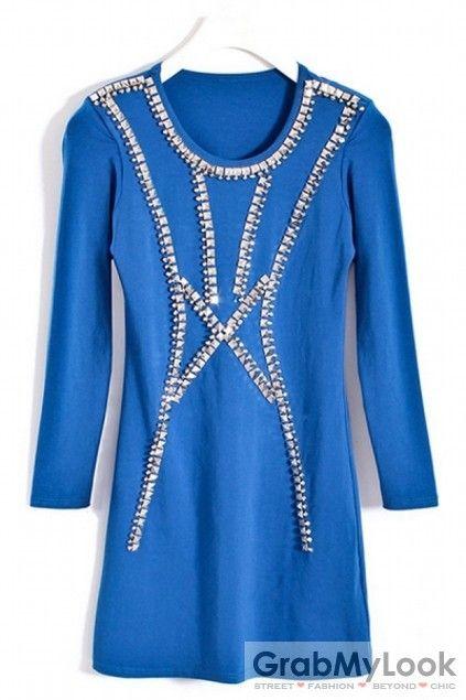 GrabMyLook Studs Bejeweled Bodycon Long Sleeves Skirt Dress