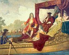 Georg Friedrich Händel (Mitte) mit George I, Bootsfahrt auf der Themse