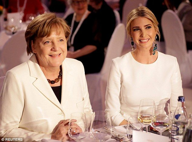 The First Daughter was all smiles as she sat next to Merkel during the gala dinner at Deutsche Bank