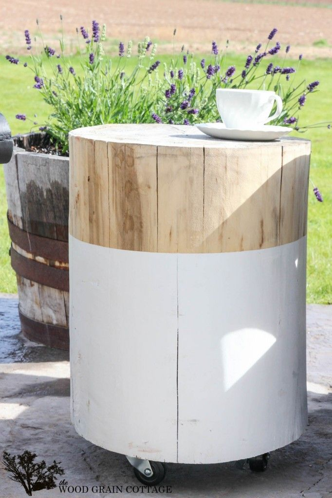 Turn an old stump into a great outdoor side table! Full tutorial by The Wood Grain Cottage
