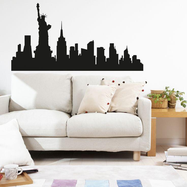 Vinilo decorativo de New York vista skyline de la ciudad. Precios y Medidas en http://www.vinilosinbox.com